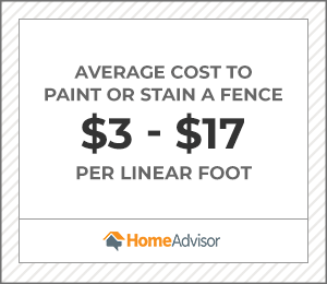 the average cost to paint or stain a fence is $3 to $17 per linear foot.