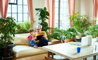 Grandfather and grandson on couch surrounded by live palms, ficus, and ferns.