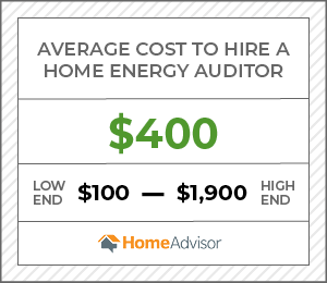 the average cost to hire an energy auditor is $400 or $100 to $1,900.