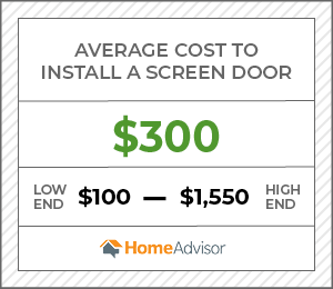 the average cost to install a a screen door is $300 or $100 to $1,550.