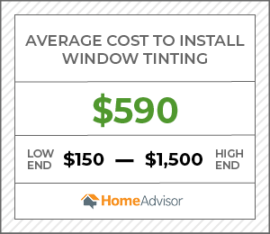 the average cost to install a window tinting is $590, or $150 to $1,500.