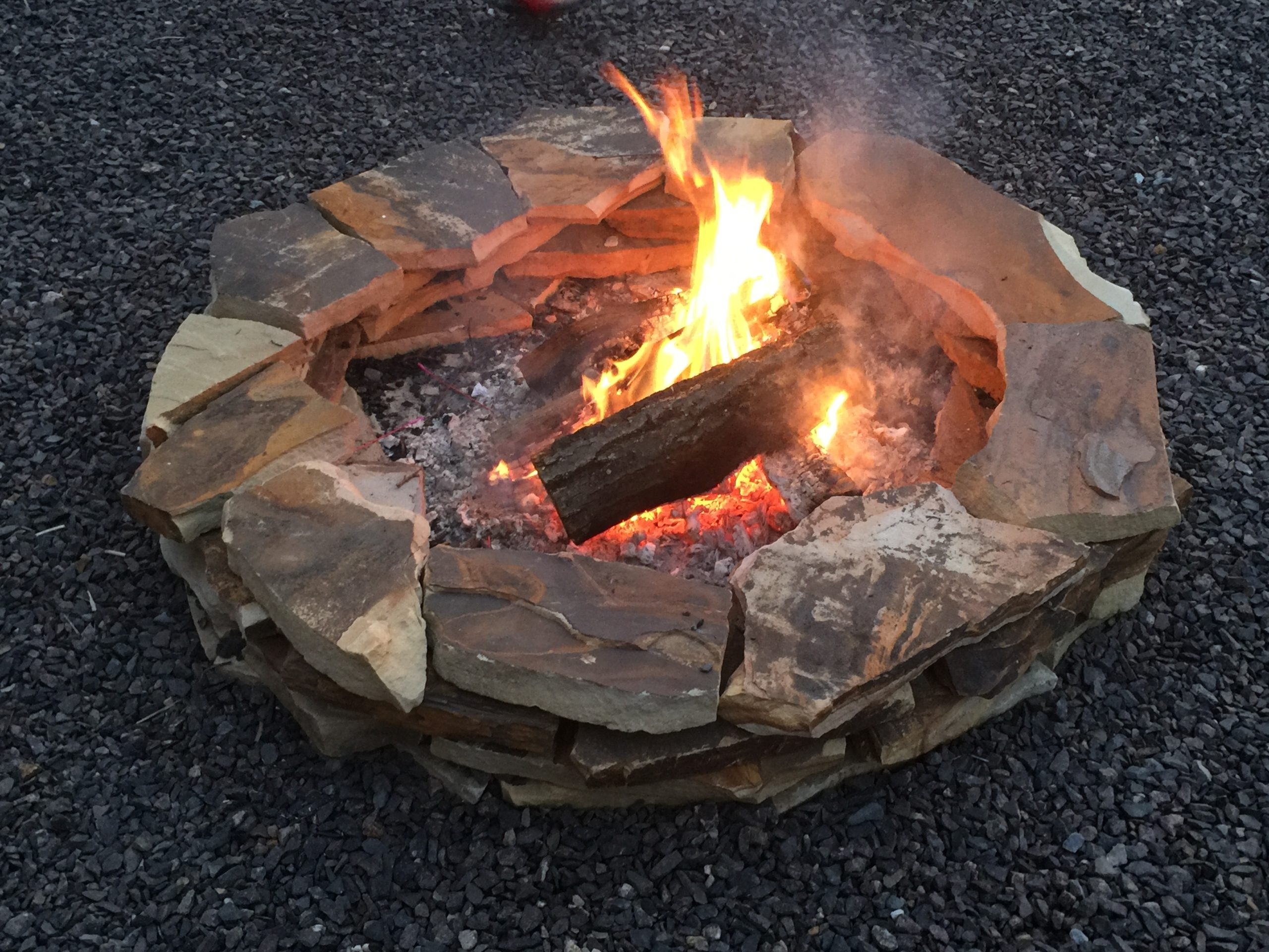 Fire burning in outdoor firepit