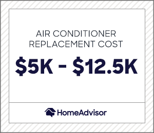 air conditioner replacement costs $5,000 to $12,500.