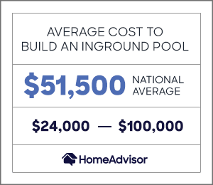 the average cost to build an inground pool is $51,500 or between $24,000 and $100,000