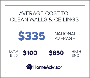 the average cost to clean walls and ceilings is $335 or $100 to $850