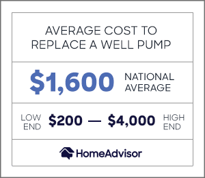 the average cost to replace a well pump is $1,600