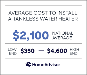 the average cost to install a tankless water heater is $2,100