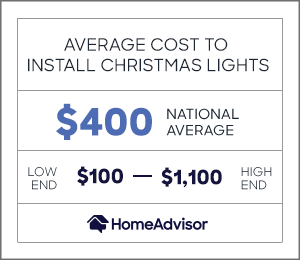 the average cost to install christmas lights is $400 or $100 to $1,100