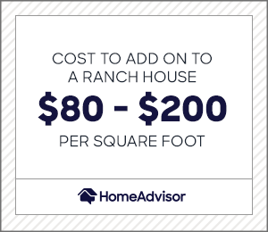 the cost to add on to a ranch house is $80 to $200 per square foot.