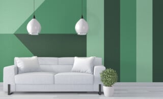 green geometric pattern on living room wall