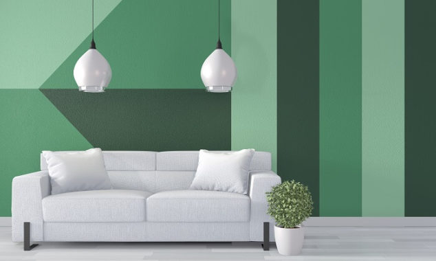 green geometric pattern on living room wall