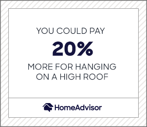 you could pay 20% more for hanging lights on a high roof