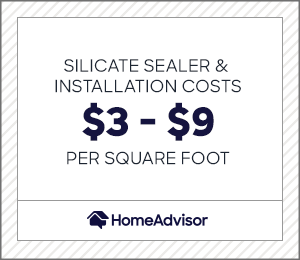 silicate sealer and installation costs $3 to $9 per square foot