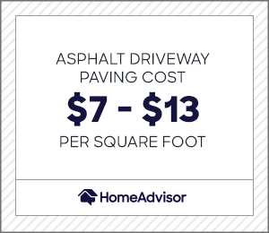 asphalt driveway paving costs $7 to $13 per square foot