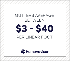 gutters average between $3 and $40 per foot