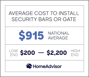 the average cost to install security bars or a gate is $915 or $200 to $2,200