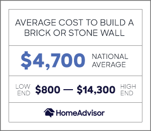 the average cost to build a brick or stone wall is $4,700 or $800 to $14,300