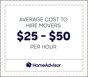 the average cost to hire movers is $25 to $50 per hour