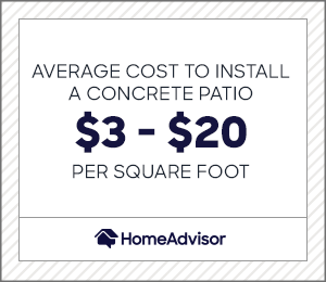 the average cost to install a concrete patio is $3 to $20 per square foot