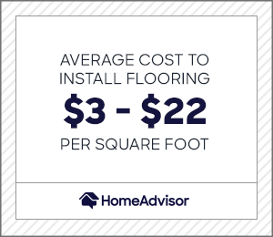 the average cost to install flooring is $3 to $22 per square foot