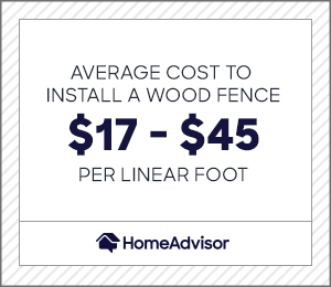 the average cost to install a wood fence is $17 to $45 per square foot