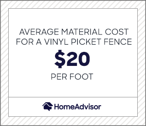 average material cost for a vinyl picket fence is $20 per foot