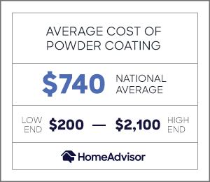 average powder coating costs are $740 or between $200 and $2,100