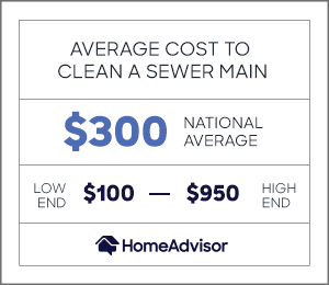 average cost to clean a sewer main is $300, or $100 to $950