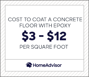 the cost to coat a concrete floor with epoxy is $3 to $12 per square foot