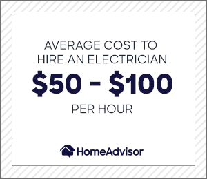 the average cost to hire an electrician is $50 to $100 per hour