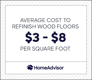 the average cost to refinish wood floors is $3 to $8 per square foot