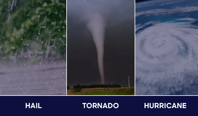 Hail, tornados and hurricanes are common types of storm damage