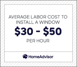 the average labor cost to install a window is $30 to $50 per hour