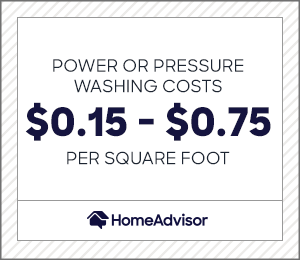 power or pressure washing costs $0.15 to $0.75 per square foot