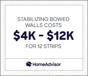 stabilizing bowed walls costs $4,000 to $12,000 for 12 strips