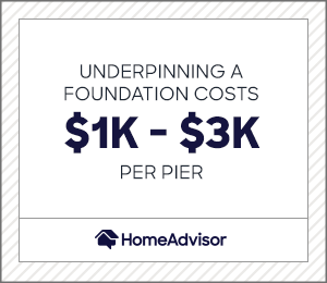 underpinning a foundation costs $1,000 to $3,000 per pier