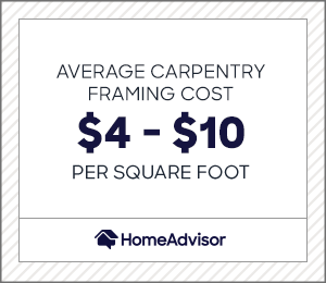 the average carpentry framing cost is $4 to $10 per square foot