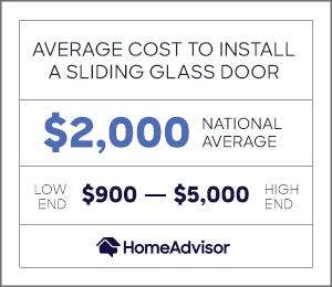 average cost to install a sliding glass door is $2,000 or $900 to $5,000.