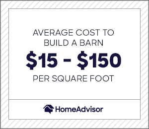the average cost to build a barn is $15 to $150 per square foot.