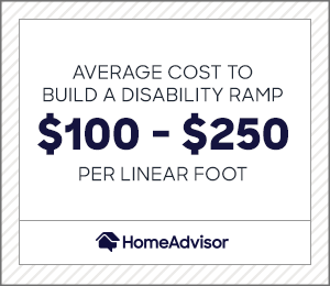 the average cost to build a disability ramp is $100 to $250 per linear foot.