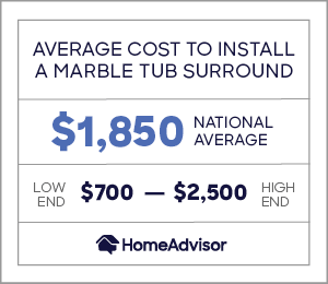 the average cost to install a marble tub surround is $1,850 or $700 to $2,500.