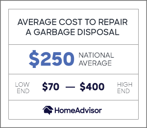 the average cost to repair a garbage disposal is $250 or $70 to $400.