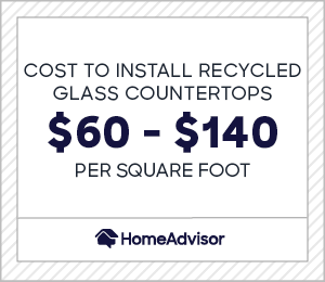 the cost to install recycled glass countertops is $60 to $140 per square foot.