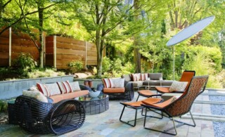 Patio living room furniture with fabric and hard materials