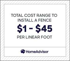 the average total per linear foot cost to install a new fence is $1 to $45.