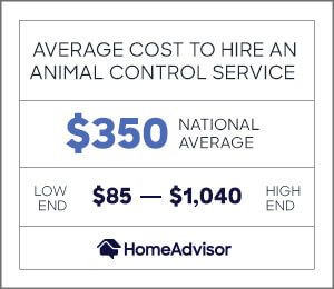 the average cost to hire an animal control service is $350 or $85 to $1,040.