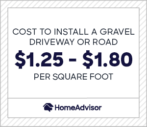 the cost to install a gravel driveway or road is $1.25 to $1.80 per square foot.