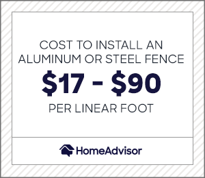 the cost to install an aluminum or steel fence is $17 to $90 per foot.