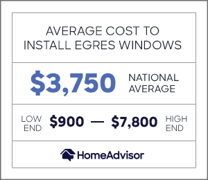 the average cost to install an egress window is $3,750, or $900 to $7,800.