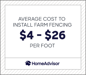 the average cost to install farm fencing is $4 to $26 per foot.